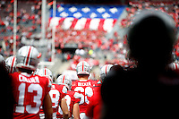 Ohio State Buckeyes offensive lineman Taylor Decker (68) and the Buckeyes walk out for warmups before in Ohio Stadium for their game against Hawaii at Ohio Stadium on September 12, 2015.  (Dispatch photo by Kyle Robertson)