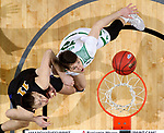 SIOUX FALLS, SD - MARCH 8: Filip Rebraca #12 of the North Dakota Fighting Hawks battles for the rebound with Dylan Carl #11 of the PFW Mastodons at the 2020 Summit League Basketball Championship in Sioux Falls, SD. (Photo by Dave Eggen/Inertia)