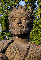Detail of head and shoulders of statue of Amir Timur, Samarkand, Uzbekistan, pictured on July 19, 2010, at dawn. Amir Timur (1336-1405) ruler and warrior founded the Timurid dynasty. He is also known as Tamerlane, or Tamberlaine. Samarkand, a city on the Silk Road, founded as Afrosiab in the 7th century BC, is a meeting point for the world's cultures. Its most important development was in the Timurid period, 14th to 15th centuries. Picture by Manuel Cohen.
