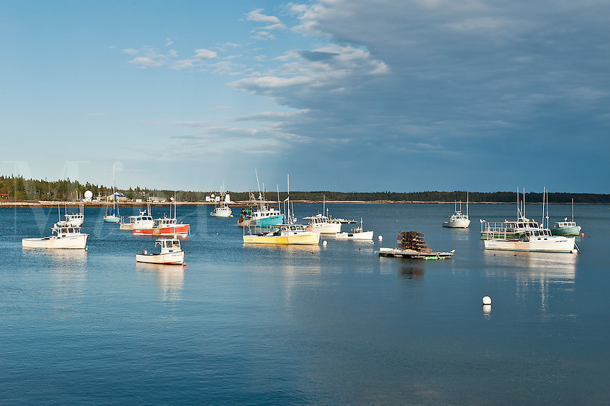 Lobster boats, Winter Harbor, Maine, ME, USA