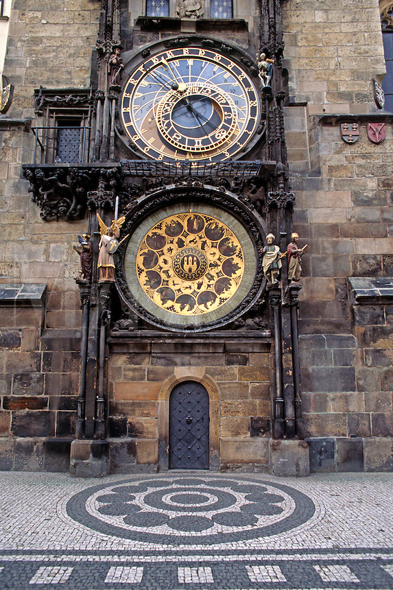The GOTHIC ASTRONOMICAL CLOCK (1410) at OLD TOWN HALL in the historic city of PRAGUE (PRAHA) - CZECH REPUBLIC
