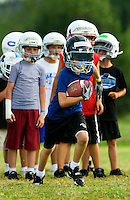 For several weeks each summer, the Offense-Defense Football Camp gives children between the ages of seven and 18 a chance to participate in full-contact football practice. Young football enthusiasts learn football theory and hands-on football practice under the guidance of NFL coaches, NFL players and college coaches who teach at the camps. Offense-Defense football summer camps are offered in several dozen locations across the U.S. Photos in this summer youth football camp were taken at the Charlotte, NC, camp, held at the University of North Carolina Charlotte (UNCC) from July 19-23, 2009.