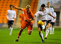 Blackpool's Owen Watkinson vies for possession with Derby County's Eiran Cashin<br /> <br /> Photographer Alex Dodd/CameraSport<br /> <br /> The FA Youth Cup Third Round - Blackpool U18 v Derby County U18 - Tuesday 4th December 2018 - Bloomfield Road - Blackpool<br />  <br /> World Copyright &copy; 2018 CameraSport. All rights reserved. 43 Linden Ave. Countesthorpe. Leicester. England. LE8 5PG - Tel: +44 (0) 116 277 4147 - admin@camerasport.com - www.camerasport.com