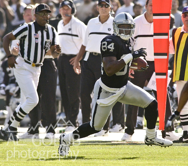 Oakland Raiders wide receiver Jerry Porter (84) on Sunday, October 20, 2002, in Oakland, California. The chargers defeated the Raiders 27-21 in an overtime game.