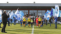 20200121- Oostakker, BELGIUM : The lineswomen Joline Delcroix (left), referee Irmgard van Meirvenne (middle) and lineswomen Heide Houtthave (right) walk among the flags at the start of the semi final of Belgian Cup 2020 , women's soccer game between KAA Gent Ladies and R Standard de Liège Femina, on Sunday 26th January 2020, at at the PGB stadion in Oostakker, Ghent, BELGIUM . PHOTO: SPORTPIX.BE | SEVIL OKTEM