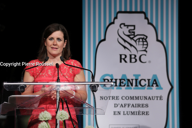 La Ministre Quebecoise de la Justice Stephanie Vallee<br />  au Gala Phenicia de la Chambre de Commerce LGBT du Qu&eacute;bec, tenu au Parquet de la Caisse de Depots et Placements du Quebec, jeudi, 26 mai 2016.<br /> <br /> <br /> PHOTO : Pierre Roussel -  Agence Quebec Presse