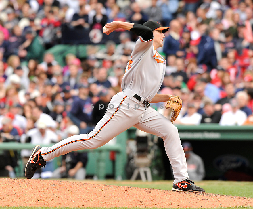 JIM JOHNSON, of the Baltimore Orioles , in action during the Orioles game against the Boston Red Sox at Fenway Park in Boston, Massachusetts  on April 25, 2010...The Orioles win 7-6