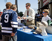 The Hobey Baker Committee had a merchandise table at Channelside. - The members of the Hobey Hat Trick joined the Boston College Eagles and Ferris State Bulldogs at an autograph signing at Channelside Bay Plaza on Friday, April 6, 2012, in Tampa, Florida.