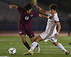 Andrew Weiner #3 of Mepham, right, and Ethan Senatore #19 of Garden City battle for possession during the Nassau County varsity boys soccer Class A final at Mitchel Athletic Complex in Uniondale on Wednesday, Oct. 31, 2018. Weiner scored the lone goal early in the first half to lead Mepham to a 1-0 win.