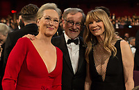 Oscar&reg;-nominee Meryl Streep, Oscar-nominee Steven Spielberg, and Kate Capshaw pose together during the live ABC Telecast of the 90th Oscars&reg; at the Dolby&reg; Theatre in Hollywood, CA on Sunday, March 4, 2018.<br /> *Editorial Use Only*<br /> CAP/PLF/AMPAS<br /> Supplied by Capital Pictures