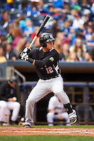 New Britain Rock Cats third baseman Pat Valaika (12) at bat during a game against the Akron RubberDucks on May 21, 2015 at Canal Park in Akron, Ohio.  Akron defeated New Britain 4-2.  (Mike Janes/Four Seam Images)