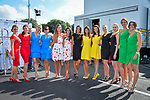 The podium girls at the end of Stage 11 of the 104th edition of the Tour de France 2017, running 203.5km from Eymet to Pau, France. 12th July 2017.<br /> Picture: ASO/Bruno Bade | Cyclefile<br /> <br /> <br /> All photos usage must carry mandatory copyright credit (&copy; Cyclefile | ASO/Bruno Bade)