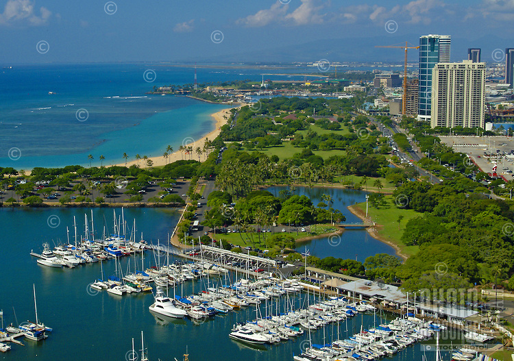 View of magic island and Ala Wai boat harbor from above