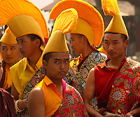 Yellow Hat Buddhist monks in a Losar ceremony, Sikkim, India