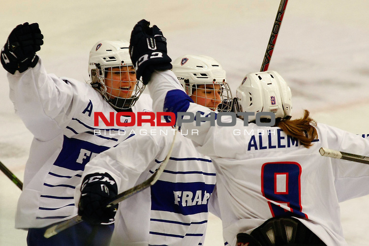 25.03.2016, Aalborg Gigantium, Aalborg, DK, FEH, IIHF WW DivIa, Norwegen vs. Frankreich, im Bild Anouck Bouche (France # 14), Chloe Aurard (France # 17) and Marion Allemoz (France # 9) are celebrating the 1:0 for France by Marion Allemoz (France # 9)<br /> <br /> Foto &copy; nordphoto / RMG