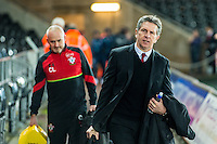 SWANSEA, WALES - JANUARY 31:Manager of Southampton Claude Puel   ( right )  arrives ahead of the Premier League match between Swansea City and Southampton at The Liberty Stadium, Swansea, Wales, UK. 31 January 2017