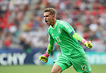 Germany's Julian Pollersbeck celebrates his sides opening goal during the UEFA Under 21 Semi Final at the Stadion Miejski Tychy in Tychy. Picture date 27th June 2017. Picture credit should read: David Klein/Sportimage