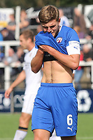 Laurence Maguire of Chesterfield, brother of England and Manchester United's Harry Maguire, shows his frustration after Bromley score their opening goal during Bromley vs Chesterfield, Vanarama National League Football at the H2T Group Stadium on 7th September 2019