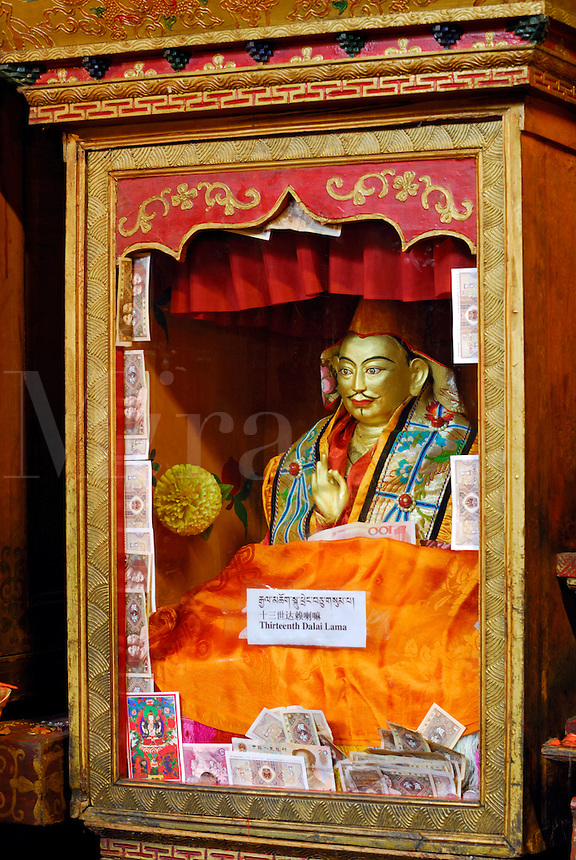 Encased statue of the Thirteenth Dalai Lama, Thubten Gyatso, at Ramoche Temple, built in the 7th century, sister to the Jokhang Temple, Lhasa, Tibet, China.