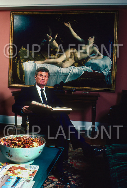 New York City, NY, USA, February 27, 1987 - Rich Feigen with some of his art collection at his home on 5th Avenue.