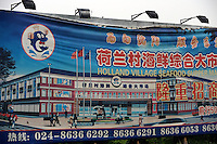 A sign for the market of Holland town still survives in Holland Village, a 600 acre re-creation of a Dutch city on the outskirts of Shenyang lies in ruins as a monument to corruption in China. Yang, a Dutch passport, got hooked on Holland while studying horticulture at Leiden University. Yang, who built the village with some of ill gotten millions, now languishes in jail and the town that is composed of several monumental buildings, plus windmills, artificial lakes, canals, a fullsize sailing ship, 1400 luxury apartments and even an indoor beach.
