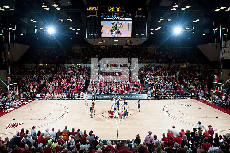 STANFORD, CA - March 3, 2010: Stanford Cardinal tip off during Stanford's game against University of California at Maples Pavilion in Stanford, California.