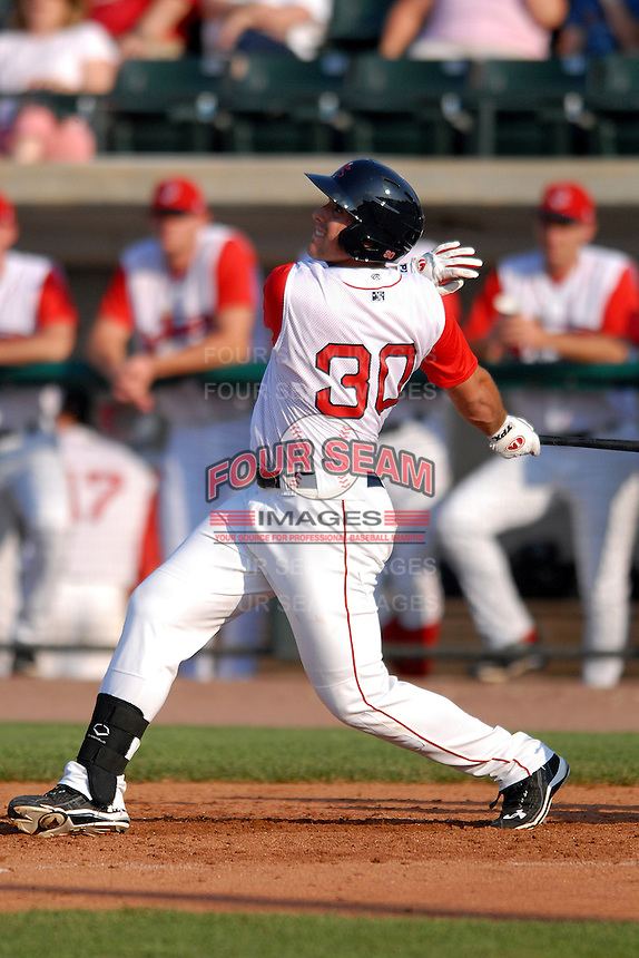 Infielder Travis Shaw #30 of the Lowell Spinners during a game versus the Connecticut Tigers at LeLacheur Park in Lowell, Massachusetts on June 18, 2011. (Ken Babbitt/Four Seam Images)