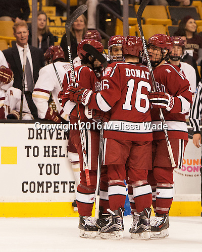 The Crimson celebrate Ryan Donato's (Harvard - 16) goal which tied the game. - The Boston College Eagles defeated the Harvard University Crimson 3-2 in the opening round of the Beanpot on Monday, February 1, 2016, at TD Garden in Boston, Massachusetts.