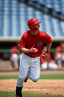 Clearwater Threshers designated hitter Cord Sandberg runs to first base during the first game of a doubleheader against the Lakeland Flying Tigers on June 14, 2017 at Spectrum Field in Clearwater, Florida.  Lakeland defeated Clearwater 5-1.  (Mike Janes/Four Seam Images)