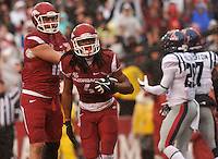 NWA Media/Michael Woods --11/22/2014-- w @NWAMICHAELW...University of Arkansas receiver Keon Hatcher celebrates with AJ Derby after a touchdown in the 1st quarter of Arkansas 30-0 win over Ole Miss during Saturdays game at Razorback Stadium.