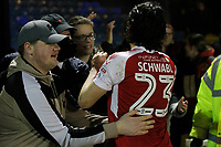 Markus Schwabl of Fleetwood Town thanks the fans for their commitment during the Sky Bet League 1 match between Southend United and Fleetwood Town at Roots Hall, Southend, England on 13 January 2018. Photo by Carlton Myrie.