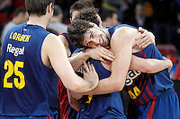 FC Barcelona Regal's Erazem Lorbek, Juan Carlos Navarro and Ante Tomic celebrate the victory in the Spanish Basketball King's Cup Final match.February 07,2013. (ALTERPHOTOS/Acero)