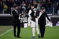 Cristiano Ronaldo of Juventus receives a shirt for his 700th goal from Juventus president Andrea Agnelli <br /> Torino 19/10/2019 Allianz Stadium <br /> Football Serie A 2019/2020 <br /> Juventus FC - Bologna <br /> Photo Federico Tardito / Insidefoto