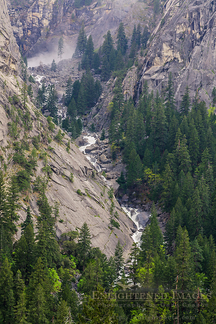Spray from Illilouette Falls and Illilouette Creek in canyon above Yosemite Valley, Yosemite National Park, California