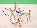 Japan team group (JPN),<br /> AUGUST 20, 2016 - Rhythmic Gymnastics :<br /> Group All-Around Qualification, Rotation 1 Ribon at Rio Olympic Arena during the Rio 2016 Olympic Games in Rio de Janeiro, Brazil. (Photo by Enrico Calderoni/AFLO SPORT)