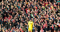 Burnley's Joe Hart utilises a sunhat whilst the Arsenal fans shield their eyes from the sun<br /> <br /> Photographer David Shipman/CameraSport<br /> <br /> The Premier League - Arsenal v Burnley - Saturday 22nd December 2018 - The Emirates - London<br /> <br /> World Copyright © 2018 CameraSport. All rights reserved. 43 Linden Ave. Countesthorpe. Leicester. England. LE8 5PG - Tel: +44 (0) 116 277 4147 - admin@camerasport.com - www.camerasport.com