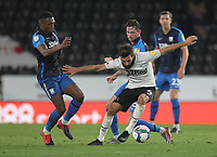 Preston North End's Darnell Fisher battles with  Derby County's GraemeShinnie<br /> <br /> Photographer Mick Walker/CameraSport<br /> <br /> Carabao Cup Second Round Northern Section - Derby County v Preston North End - Tuesday 15th September 2020 - Pride Park Stadium - Derby<br />  <br /> World Copyright © 2020 CameraSport. All rights reserved. 43 Linden Ave. Countesthorpe. Leicester. England. LE8 5PG - Tel: +44 (0) 116 277 4147 - admin@camerasport.com - www.camerasport.com