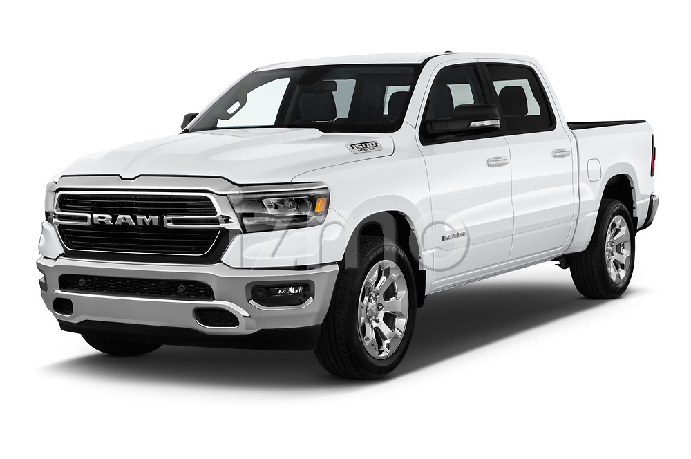 2019 Ram Ram 1500 Pickup Big Horn Crew Cab SWB 4 Door Pick Up angular front stock photos of front three quarter view