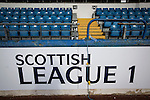 An pitch side advert for Scottish League 1, pictured before Greenock Morton take on Stranraer in a Scottish League One match at Cappielow Park, Greenock. The match was between the top two teams in Scotland's third tier, with Morton winning by two goals to nil. The attendance was 1,921, above average for Morton's games during the 2014-15 season so far.