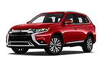 Stock pictures of low aggressive front three quarter view of a 2019 Mitsubishi Outlander SEL 5 Door SUV