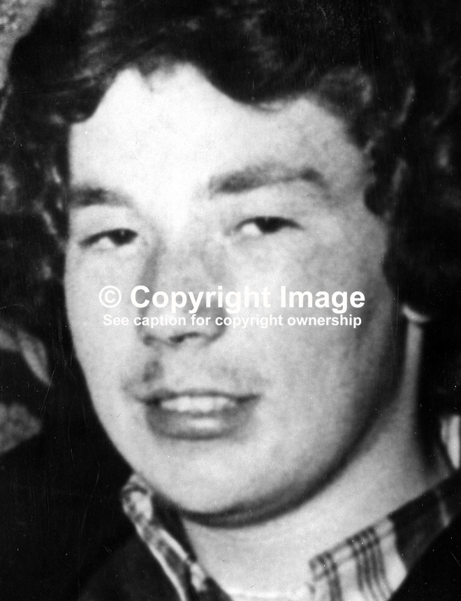 Stephen Goatley, 19 years, steel worker, member, UDA / UFF, from Spencer Street, Belfast, one of two men shot dead in the Alexandra Bar on York Road, allegedly by the UVF, another loyalist para-military organisation..197503150339..Copyright Image from Victor Patterson, 54 Dorchester Park, Belfast, United Kingdom, UK...For my Terms and Conditions of Use go to http://www.victorpatterson.com/Victor_Patterson/Terms_%26_Conditions.html