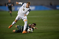 Santa Barbara, CA - Friday, December 7, 2018:  Akron men's soccer defeated Michigan State 5-1 in a semi-final match in the 2018 College Cup.  Akron's Colin Biros evades a Michigan State defender.
