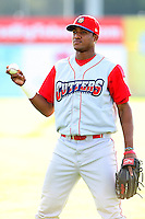 Williamsport Crosscutters outfielder Domingo Santana (24) before the first game of a double header vs. the Batavia Muckdogs at Dwyer Stadium in Batavia, New York;  August 25, 2010.   Batavia defeated Williamsport 4-3.  Photo By Mike Janes/Four Seam Images