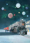"Pennsylvania Railroad K4 #1361 steam locomotive stopped at the station in  a decorative Christams image. Oil on canvas, 21"" x 15""."