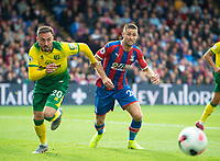 Norwich City Josip Drmic and Crystal Palace Gary Cahill during the Premier League match between Crystal Palace and Norwich City at Selhurst Park, London, England on 28 September 2019. Photo by Andrew Aleksiejczuk / PRiME Media Images.