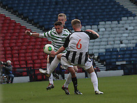 Paul George sandwiched between Ross Millen and Chris Kane (6) in the Dunfermline Athletic v Celtic Scottish Football Association Youth Cup Final match played at Hampden Park, Glasgow on 1.5.13. ..