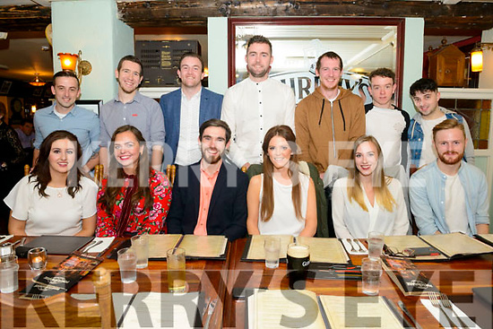 Jamie Donnelly from Gneeveguilla and Ciara Pykett from Dublin celebrated their engagement with front l-r Miriam Brosnan, Kate McCarthy, Nela Porucznik and Gary O'Leary, back l-r Tommy O'Sullivan, Padraig O'Mahony, Kieran Culloty, Frank O'Leary, Donie O'Leary, Padraig Doyle and Jason O'Sullivan in the Porterhouse, Killarney last Saturday night.