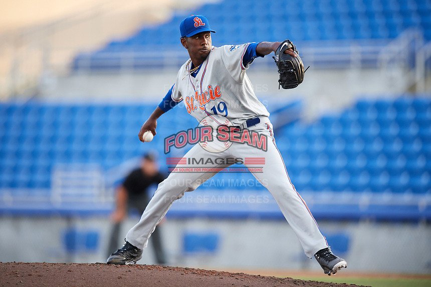 St. Lucie Mets starting pitcher Justin Dunn (19) delivers a pitch during a game against the Dunedin Blue Jays on April 20, 2017 at Florida Auto Exchange Stadium in Dunedin, Florida.  Dunedin defeated St. Lucie 6-4.  (Mike Janes/Four Seam Images)
