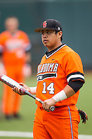 Oklahoma State Cowboys catcher Robie Rojas #14 before the NCAA baseball game against the Texas Longhorns on April 26, 2014 at UFCU Disch–Falk Field in Austin, Texas. The Cowboys defeated the Longhorns 2-1. (Andrew Woolley/Four Seam Images)