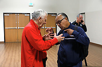 Oceanside, CA-Wednesday, June 19, 2019: US Soccer Coaches Ed Event at QLN conference center.  Derek Armstrong, on the left, and Rudy Ybarra meet up before the start of the event.